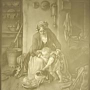 Antique Bisque Porcelain Lithophane Plaque - Mother & Child Feeding Kittens