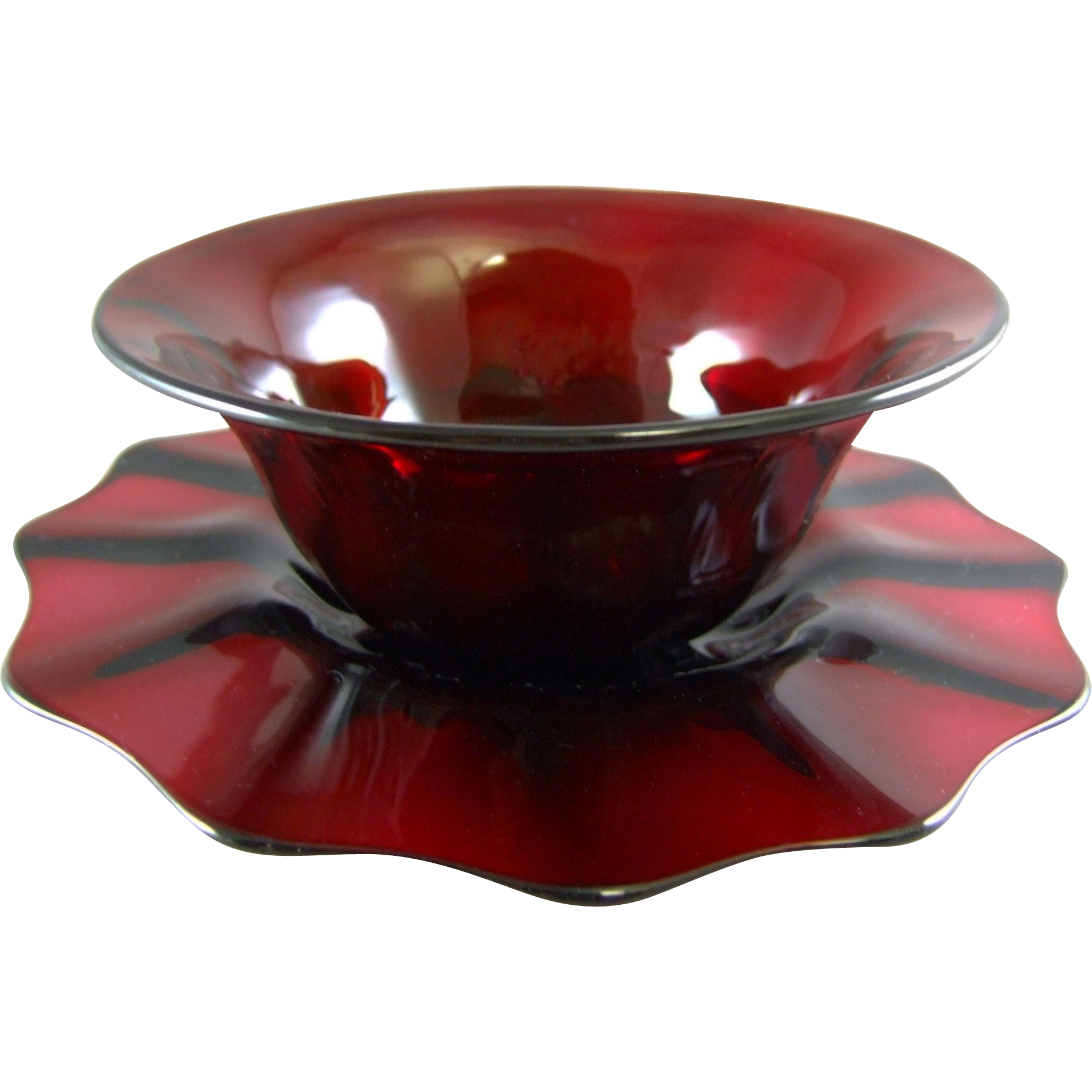 Libbey Amberina Glass Finger Bowl and Underplate