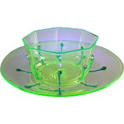 Venetian Murano Vaseline Uranium Glass Bowl and Underplate