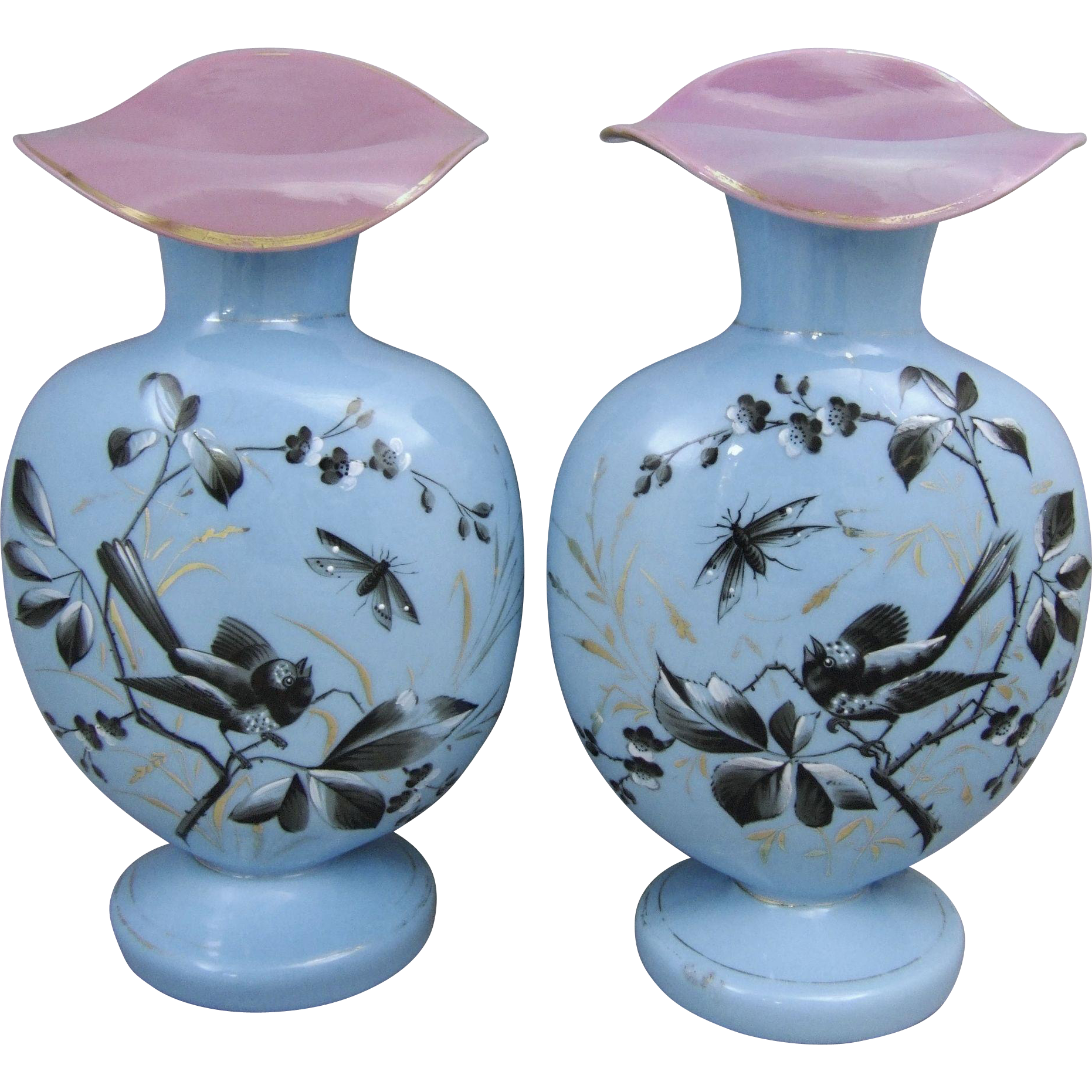 Antique Blue Opaline Bristol Glass Mantle Vases