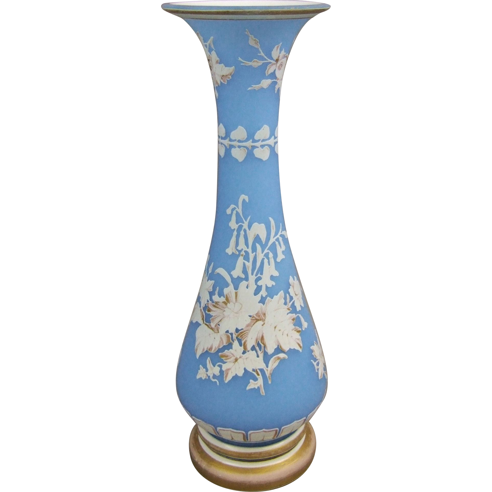 Antique Blue Opaline Overlay Glass Vase with Cameo Cut Floral Bouquets