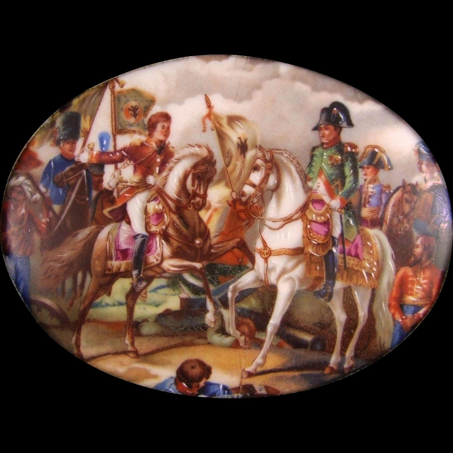 Napoleon on Horseback Porcelain Plaque Porcelaine  Artistique F.M. Limoges France