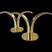 Scandinavian Mid Century Tbe Ronst Ystad Brass Candle Holder Pair
