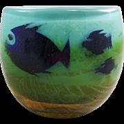 Hadeland Internatlly Decorated  Fish Art Glass Vase by Severn Brorby