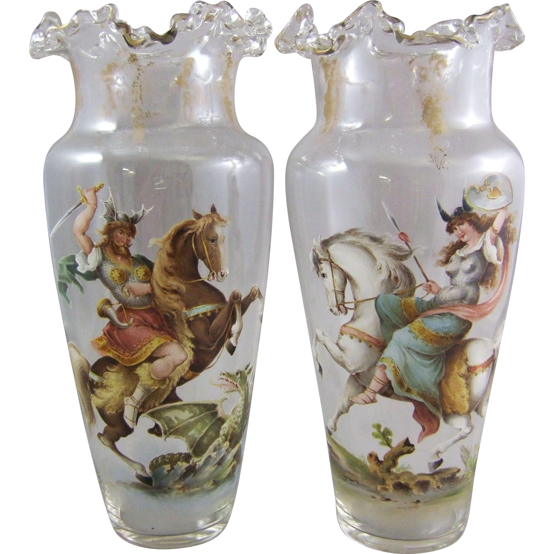 Bohemian Glass Mantle Vases with Mythological Figures a Dragon Slayer and Warrior Maiden