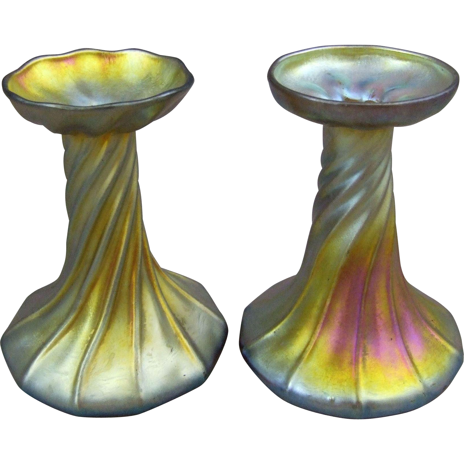 Tiffany Favrile Glass Gold Iridescent Candle Lamp Holders