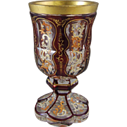 Antique Biedermeier Bohemian Ruby Cut to Clear Enameled Glass Goblet