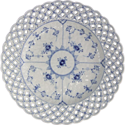 Royal Copenhagen Denmark Blue Fluted Full Lace Porcelain Reticulated Plate 10.2""