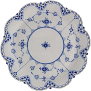 Royal Copenhagen Porcelain Blue Fluted Full Lace Porcelain Basket Weave Plate
