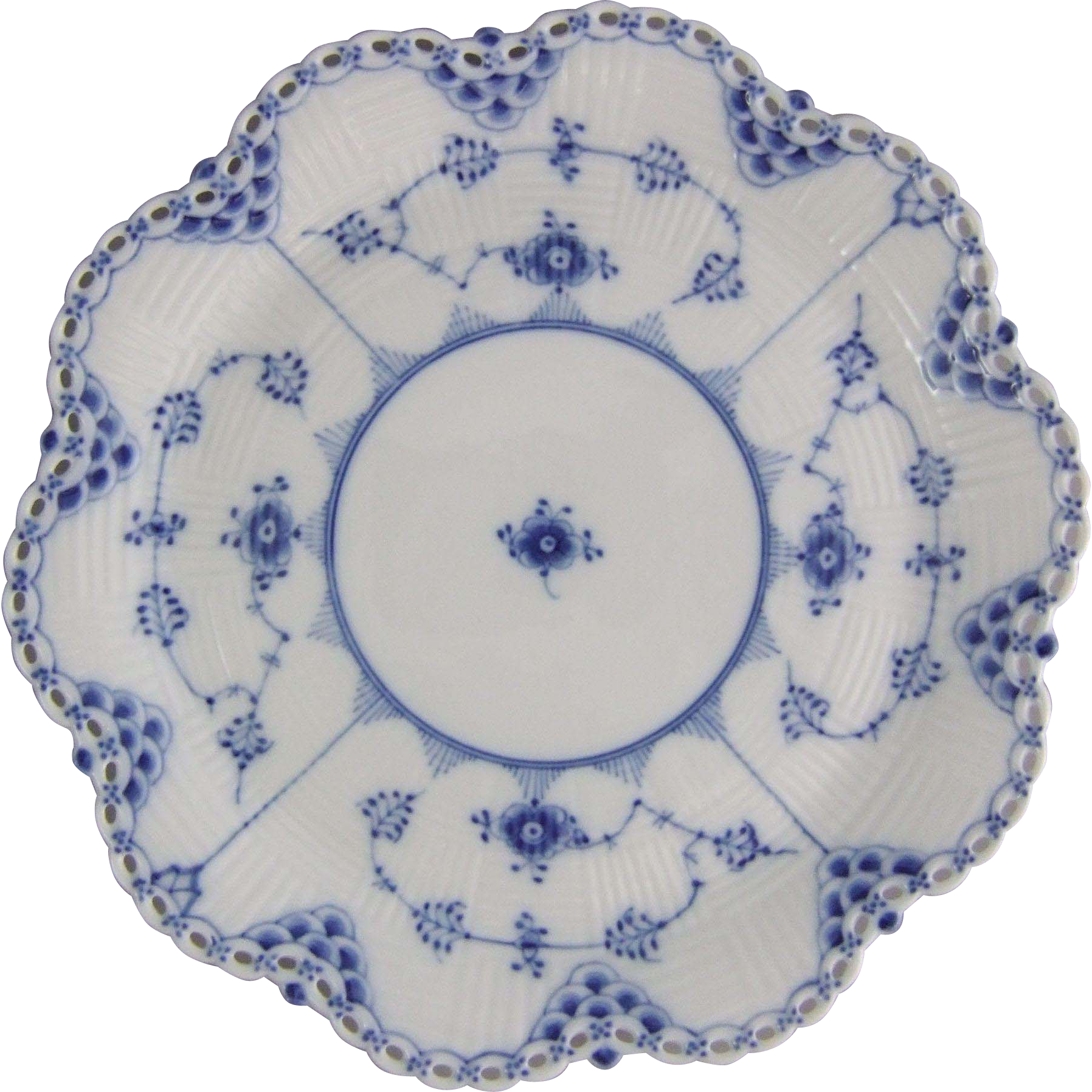 Royal Copenhagen Porcelain Blue Fluted Full Lace Porcelain Basket Weave Plate