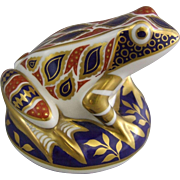 Royal Crown Derby Hand Painted Porcelain Imari Frog Paperweight First Gold Button Stopper