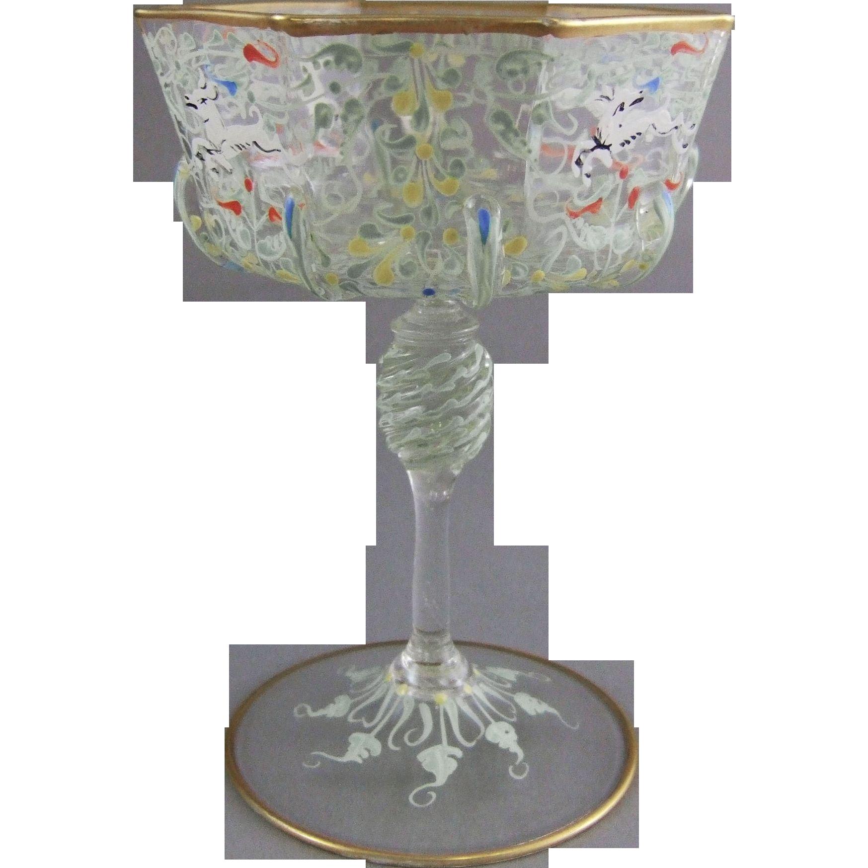 Venetian Murano Enameled Glass Champagne Saucer