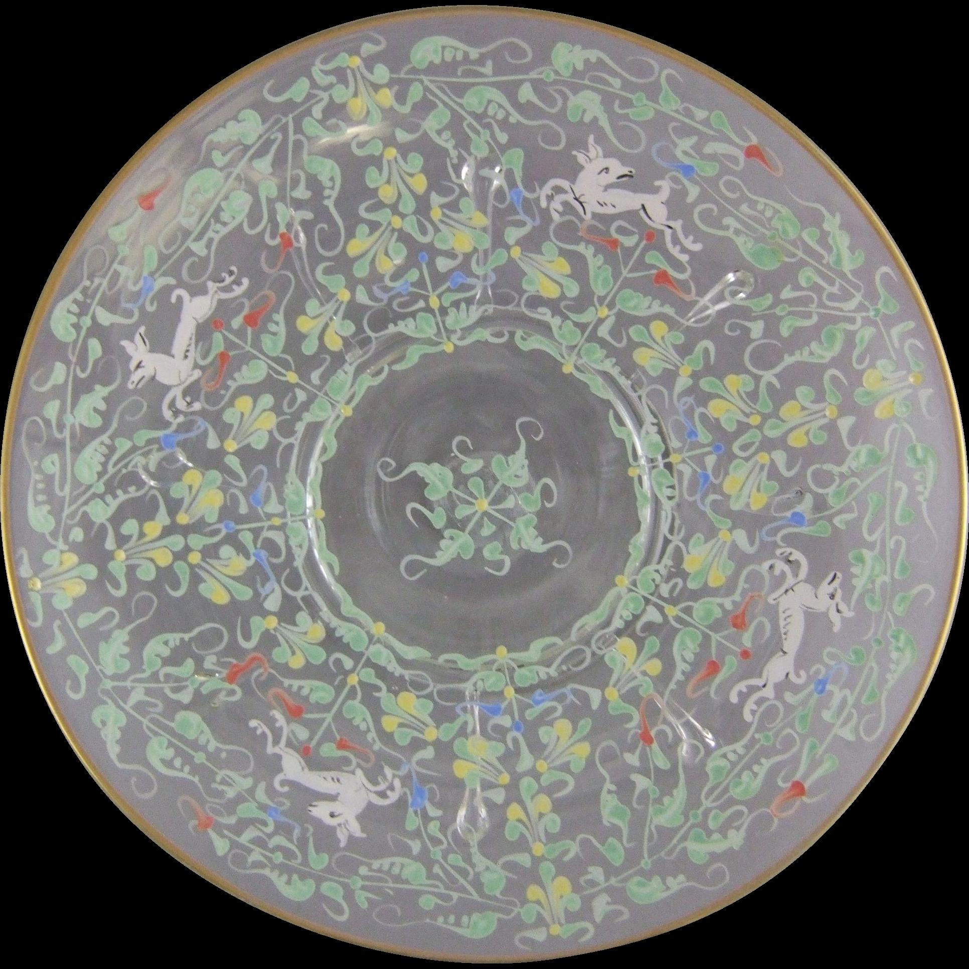 Venetian Murano Enameled Plate