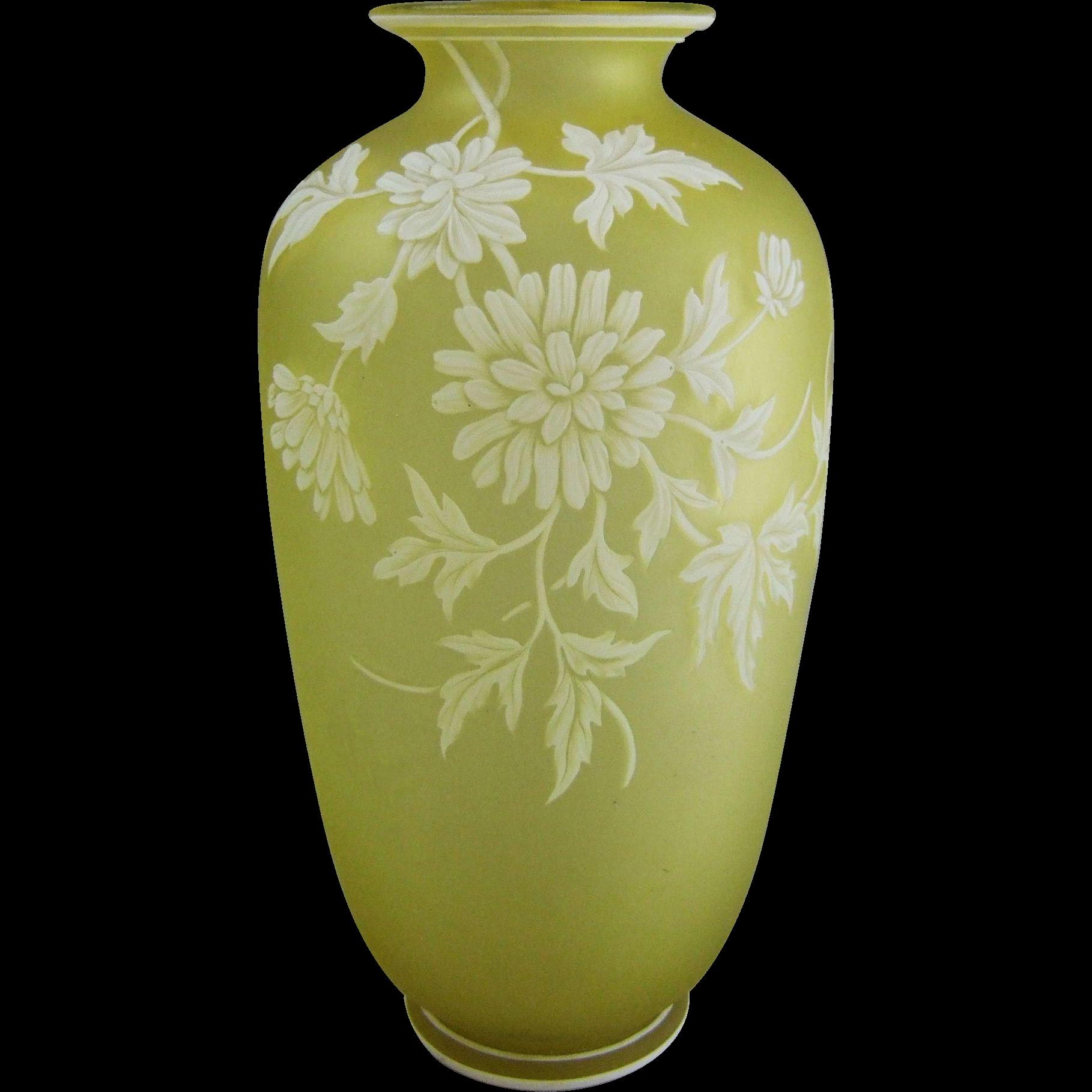 "Thomas Webb & Sons English Cameo Glass Vase 9.5"""