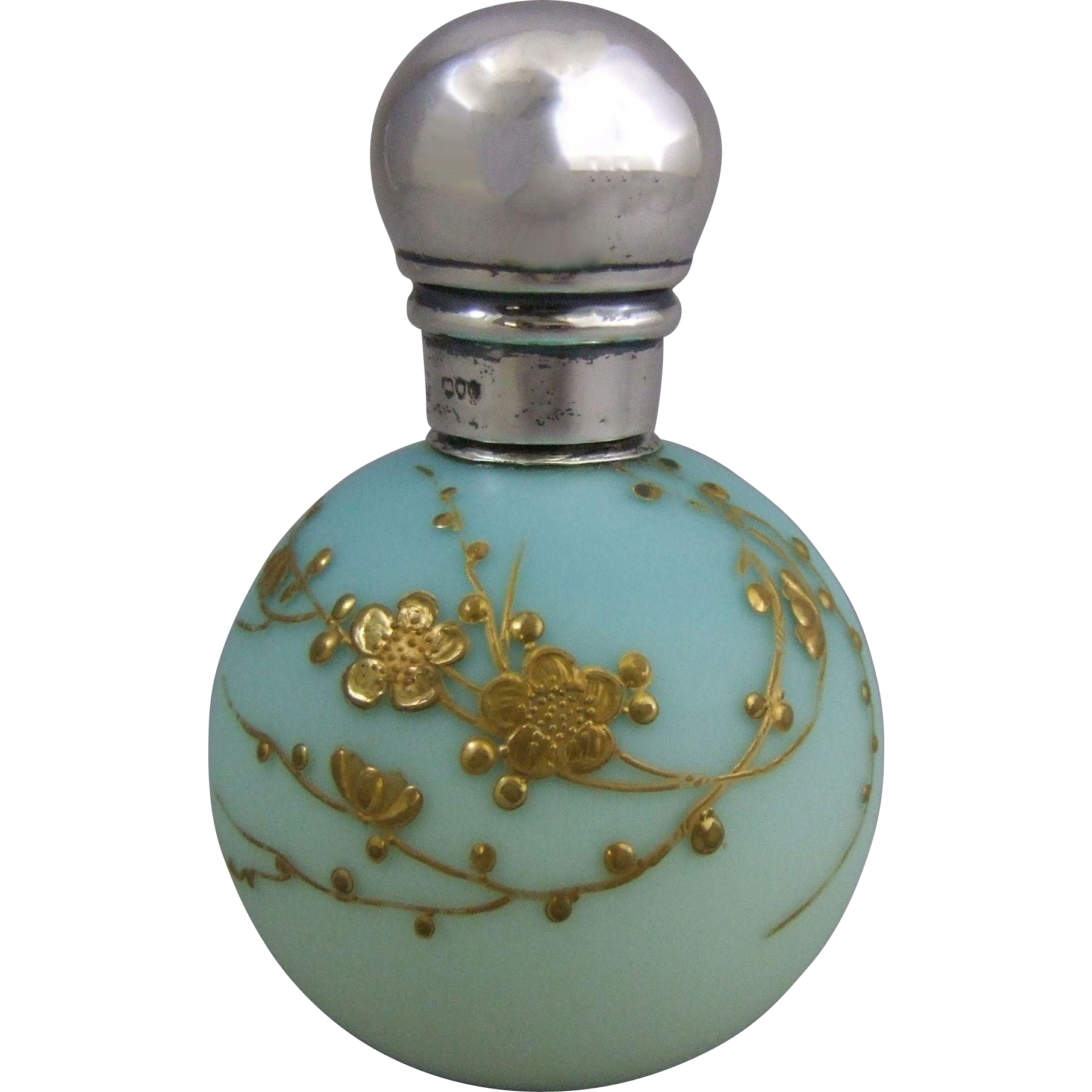 Antique English Satin Glass Globular Scent Bottle Jules Barbe Decoration