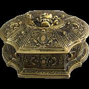 A Cast Bronze Baroque Style Lidded Jewel Casket