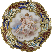 A Nineteenth Century French Porcelain & Bronze Champlevé Vanity Dish Ring Tray