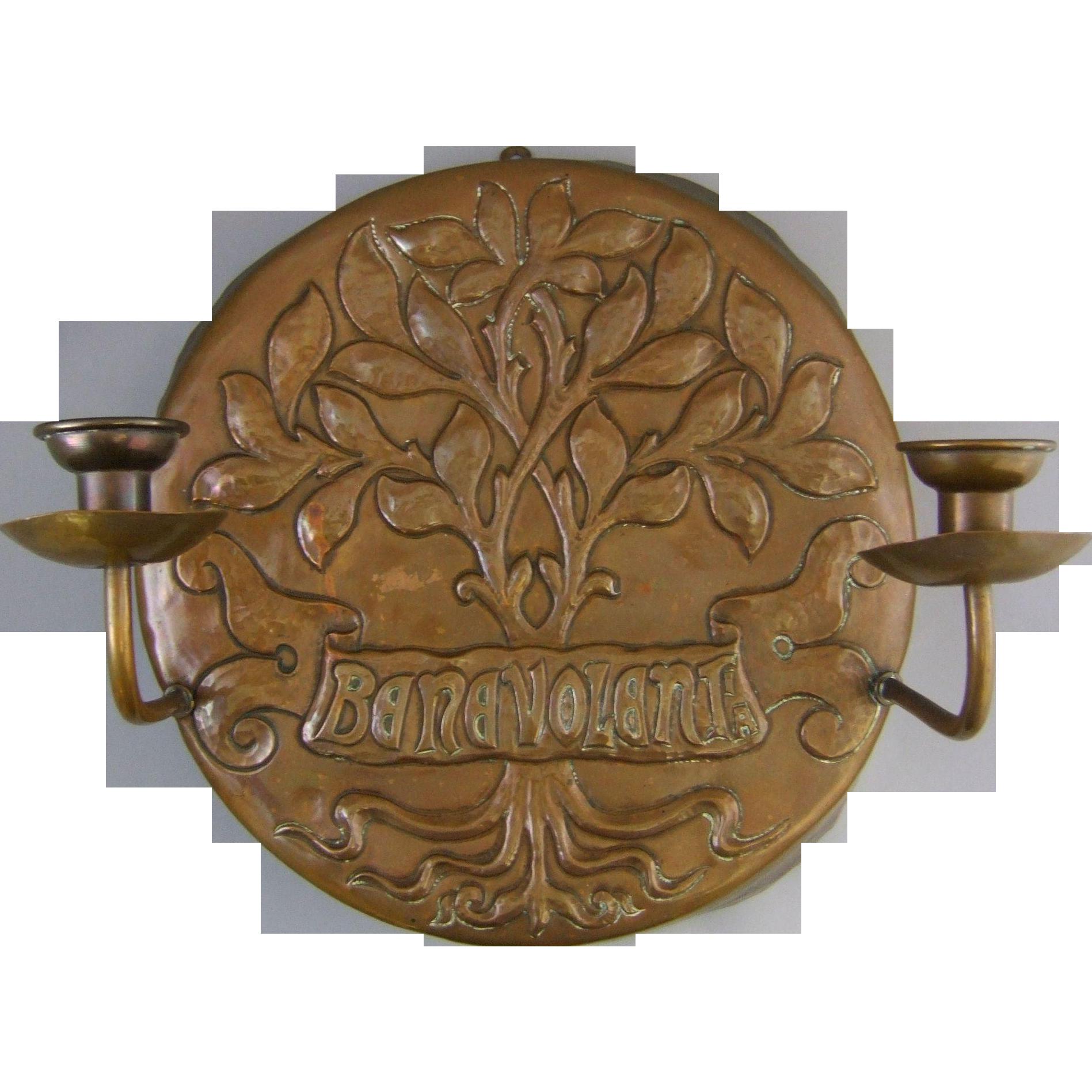 Art Nouveau Patinated Repousse Copper Candle Sconce
