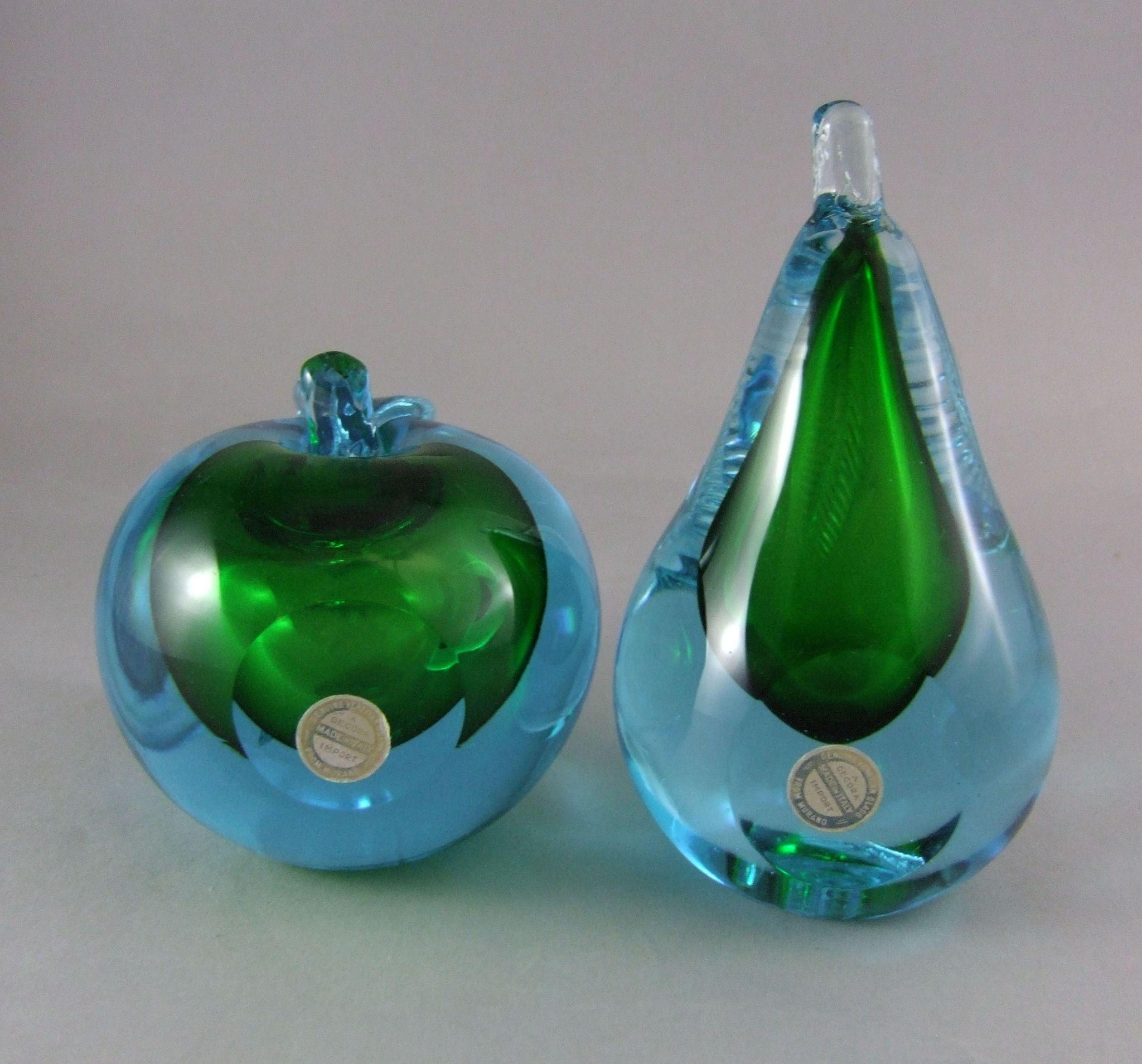 Mid Century Venetian Murano Italian Glass Apple \u0026 Pear Bookends ...