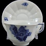 Royal Copenhagen Porcelain Blue Flower Angular Blaue Blume Cup & Saucer Set