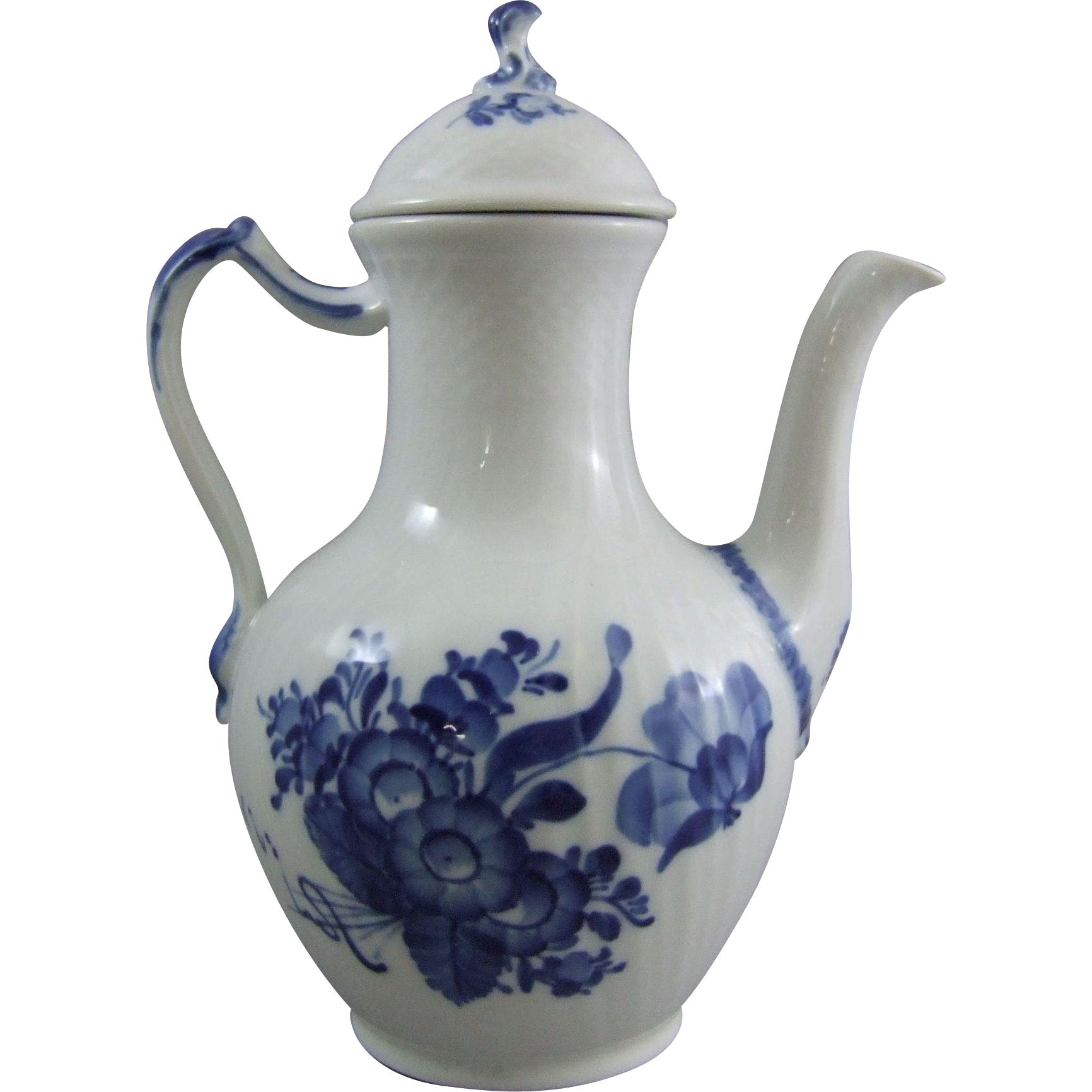 Royal Copenhagen Denmark Porcelain Blue Flower Curved Blaue Blume Coffee Pot