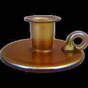 Quezal Art Glass and Decorating Co. Gold Iridescent Glass Chamberstick Candleholder