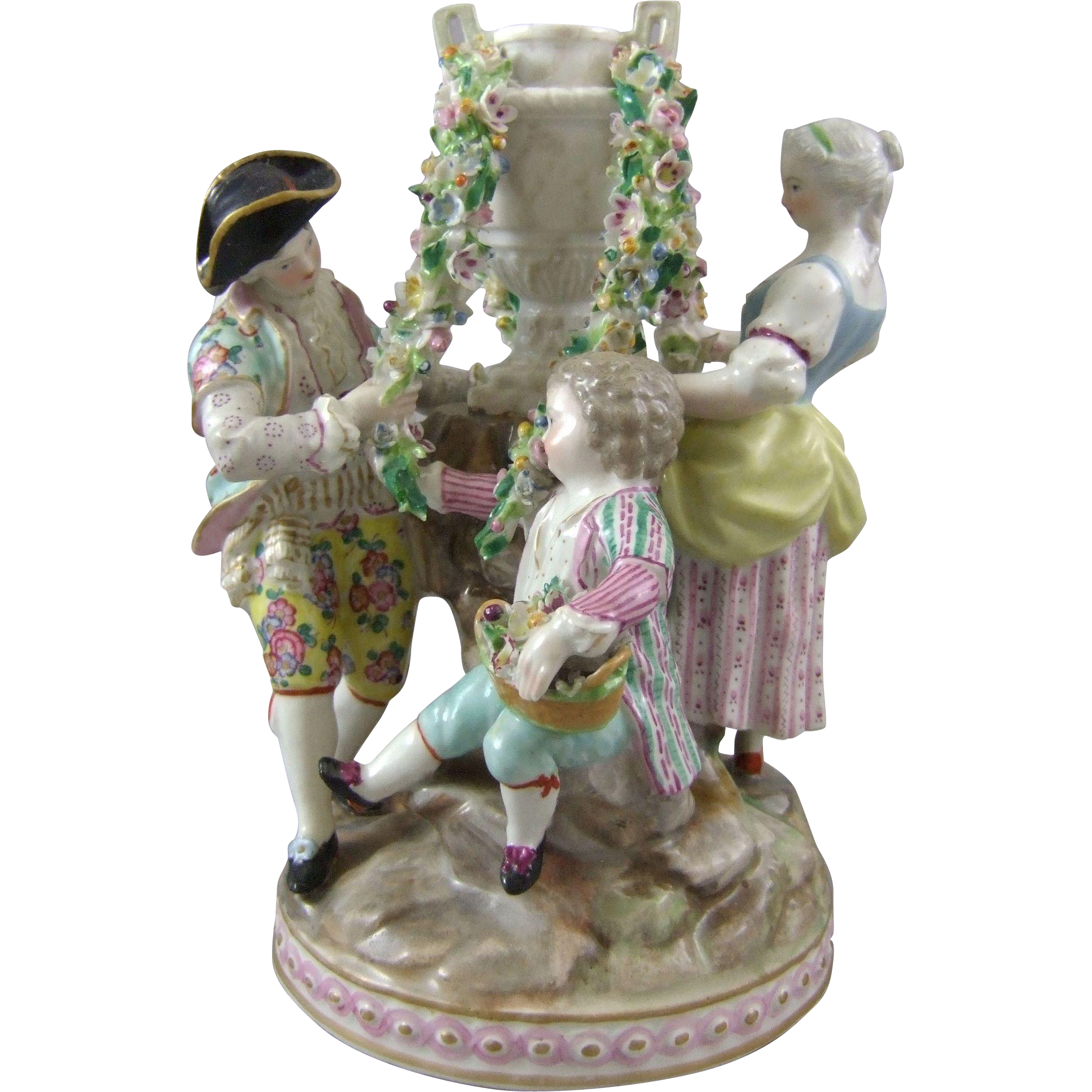 Antique Meissen Crossed Swords Porcelain Figural Group