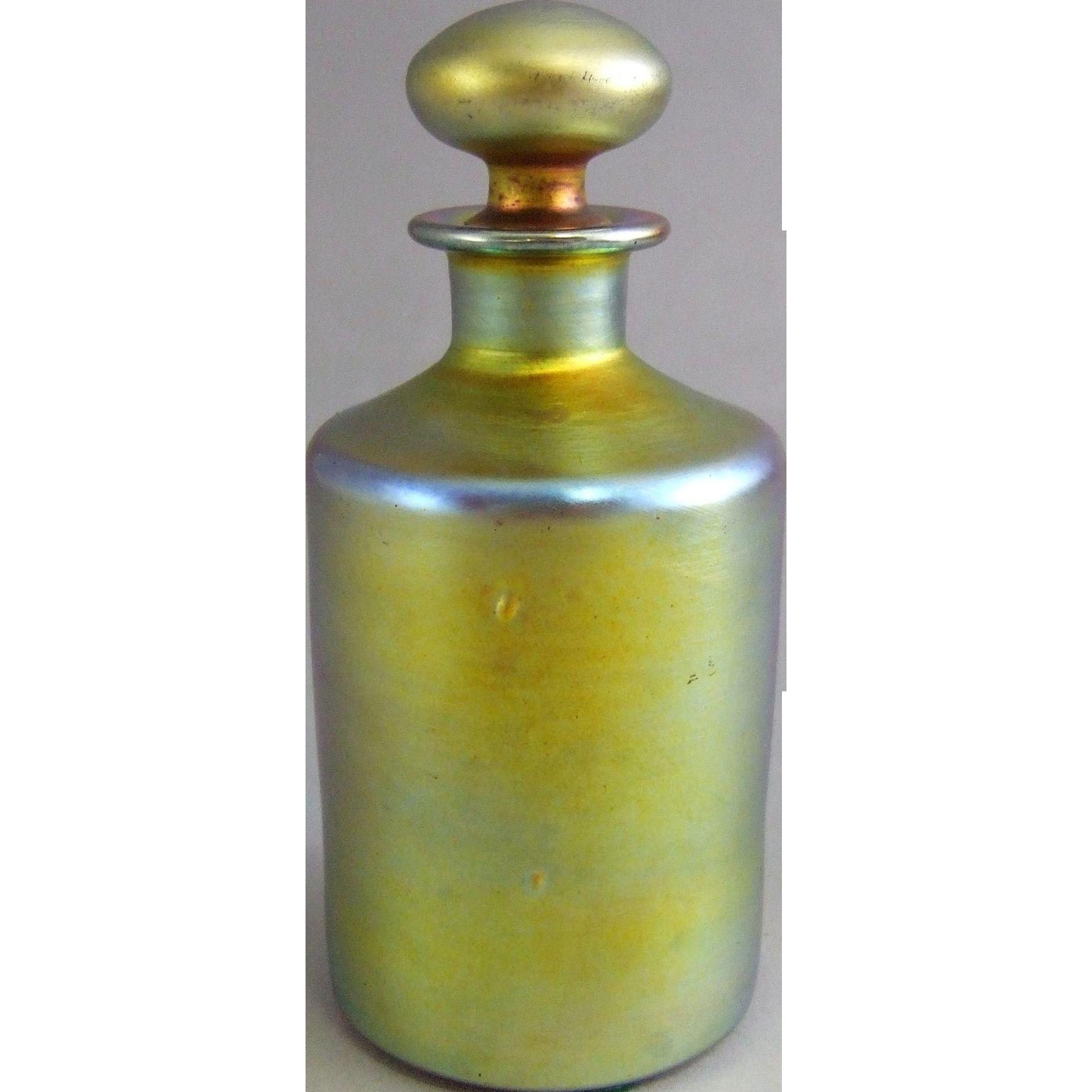 Steuben Glass Gold Aurene Cologne Perfume Bottle 1419