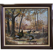 J W Thrasher Original Painting  Oil on Canvas Turkeys in the Wood