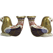 Royal Crown Derby Imari Porcelain Winged Lion Candlestick Pair