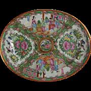 Chinese Export Porcelain Rose Medallion Oval Platter