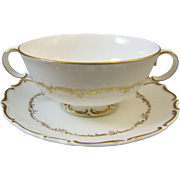 Royal Doulton H 4957 Richelieu Footed Cream Soup Bowl and Saucer Set