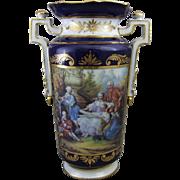 Cobalt & Gold Gilt Enamel Dresden Porcelain Mantle Vase