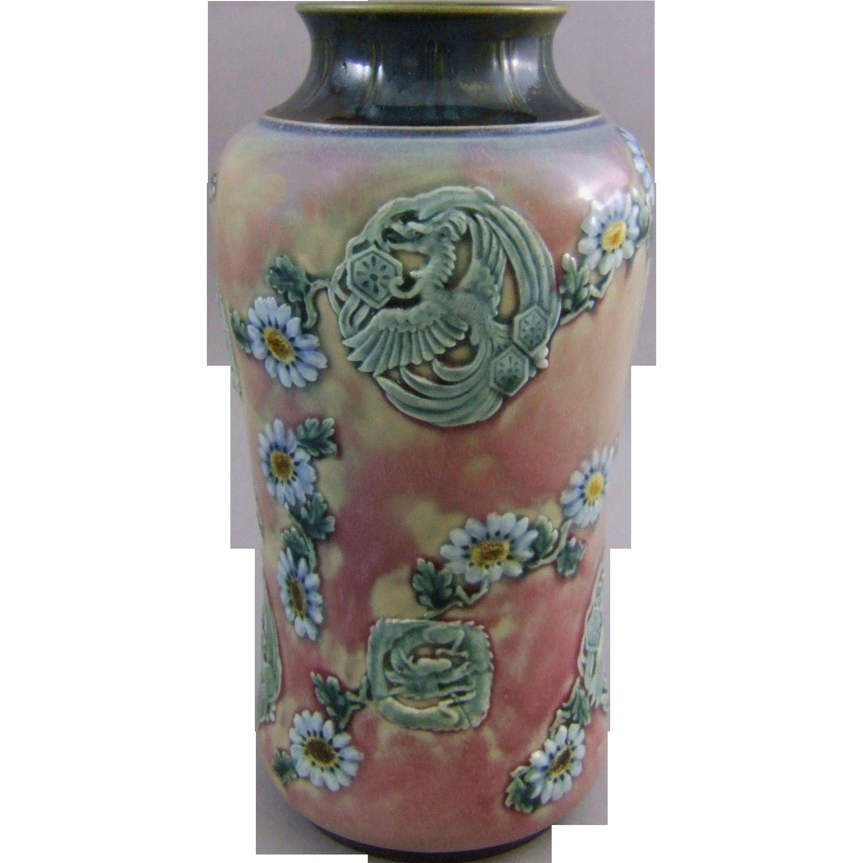 Doulton Lambeth Stoneware Vase Phoenix & Dragon Medallions C 1884