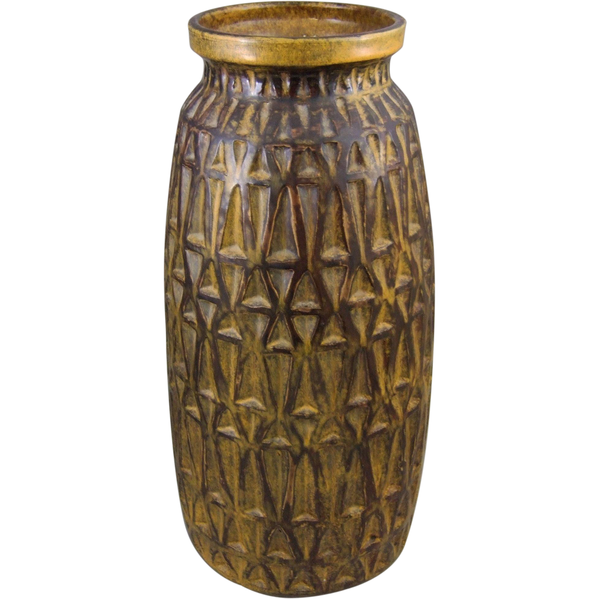 Raymor Mid Century Modern Geometric Pattern Floor Vase From Greencountry On Ruby Lane