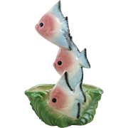 Mid-Century Maddux of California Ceramic Triple Angel Fish Planter