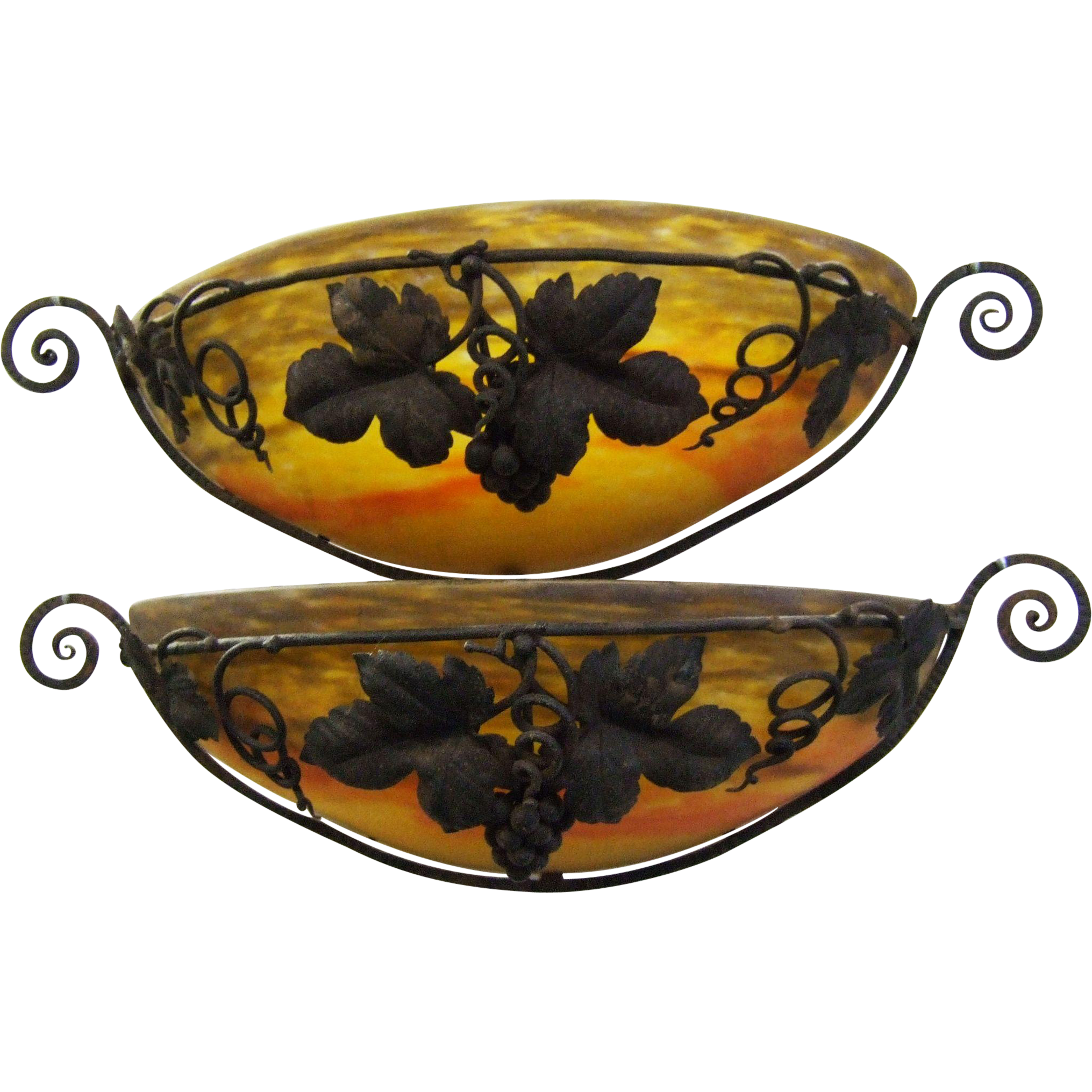 Pair - Muller Freres Luneville Wall Sconce Shade in Wrought Iron Frame