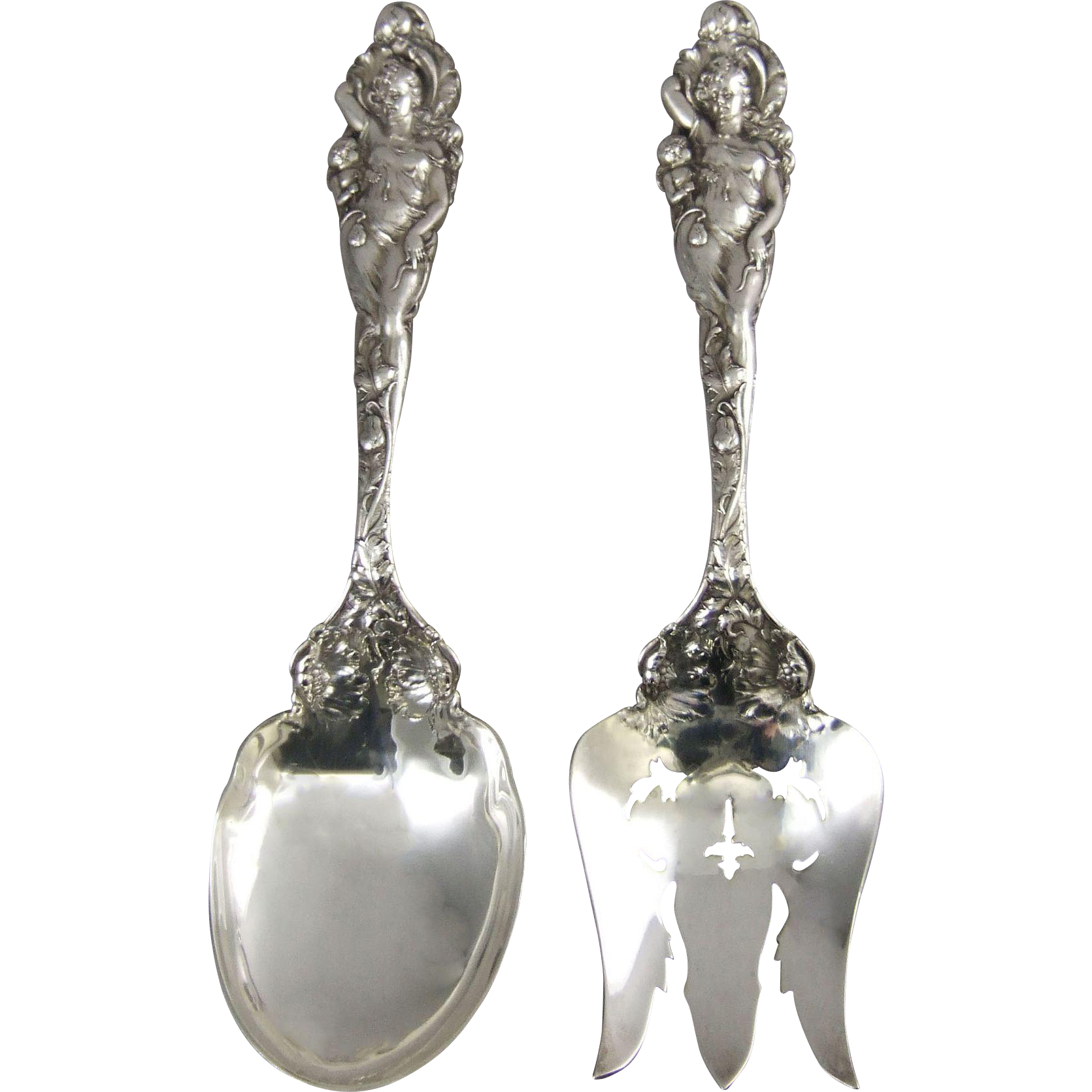 Reed & Barton Love Disarmed Sterling Silver Salad Set C1899