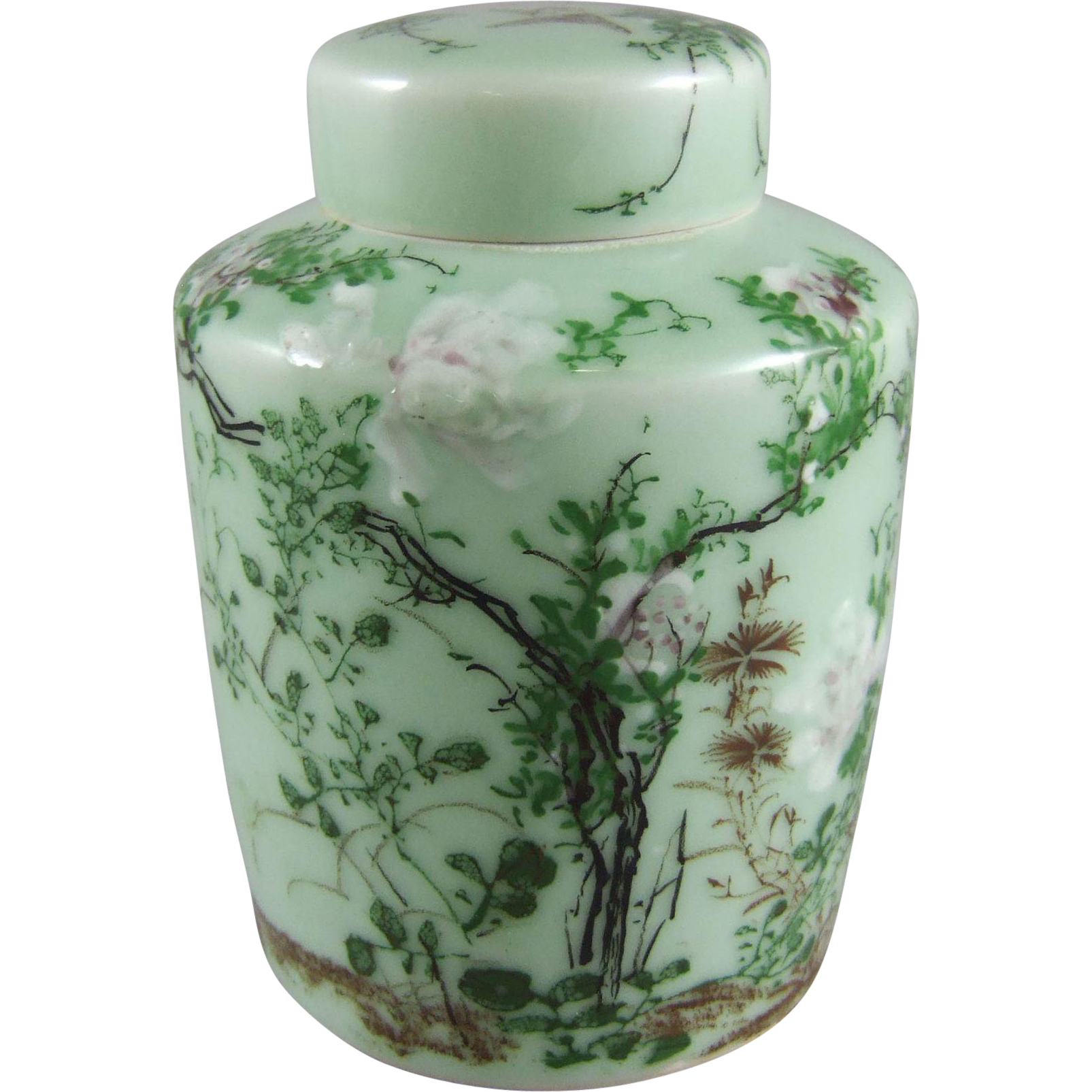 Chinese or Japanese Decorated Celadon Porcelain Lidded Jar