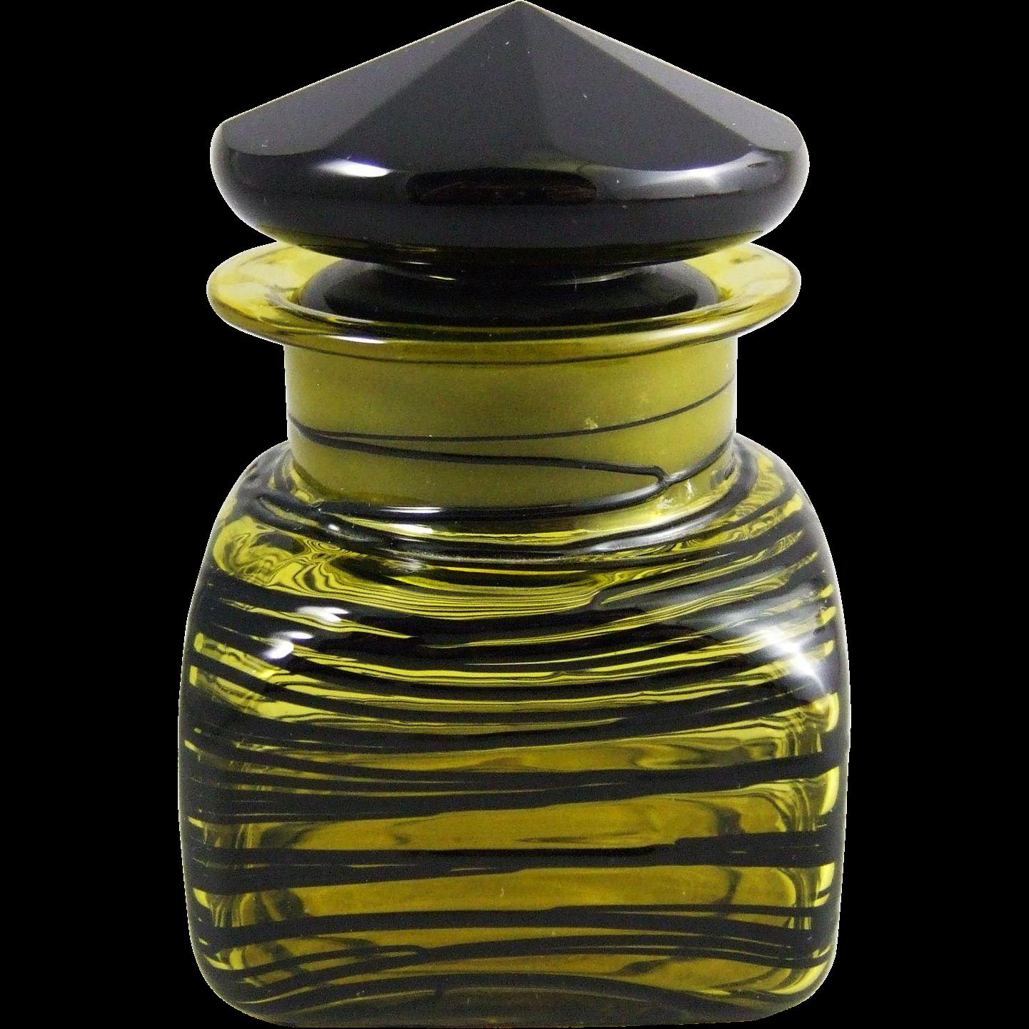 Steuben Glass Art Deco Bristol Yellow & Mirror Black Dresser Bottle
