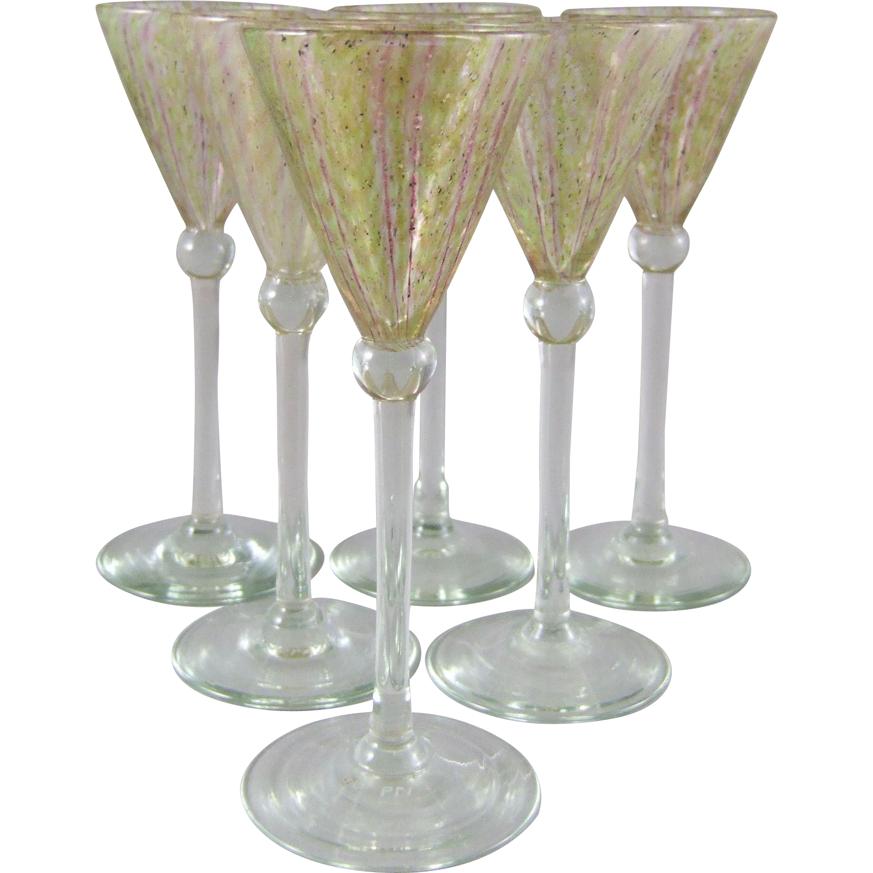 Douglas Nash Art Deco Period Chintz Cordial Goblets Set/6