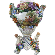 Carl Thieme Potschappel Dresden Porcelain Urn with Putti