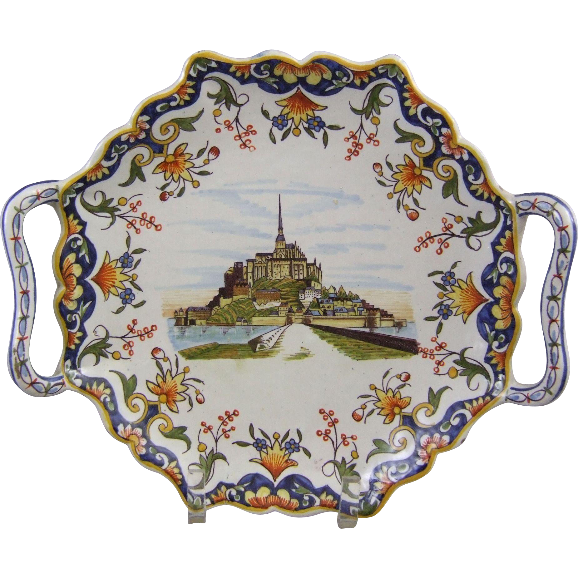 French Faience Handled Platter Mont St. Michel