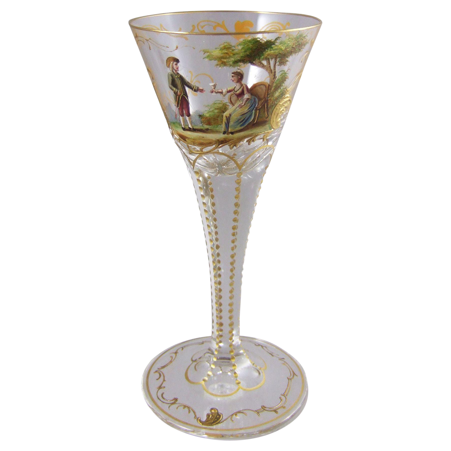 Lobmeyr Rococo Enameled Goblet with 18th Century Courting Couple