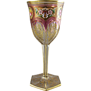 Moser Karlsbad Ruby Cut to Clear Wine Goblet with Enameled Decoration
