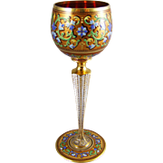 Moser Bohemian Glass Enameled Goblet Klabin Collection