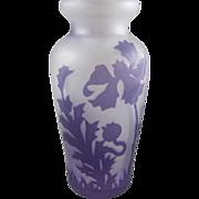 European Acid Cut Cameo Art Glass Vase