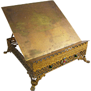19th Century French Gilt Bronze Bible Lectern with Glass Jewels