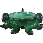 Schlevogt Ingrid Series Malachite Glass Art Deco Rearing Horse Ash Receiver
