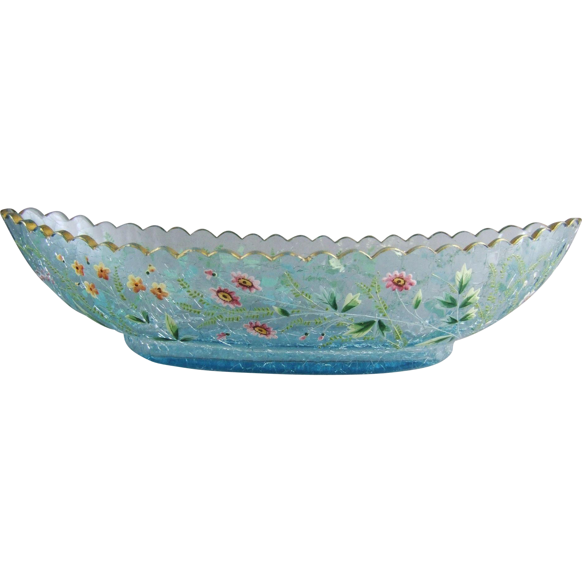 Moser Celeste Blue Crackle Glass Boat Shaped Bowl